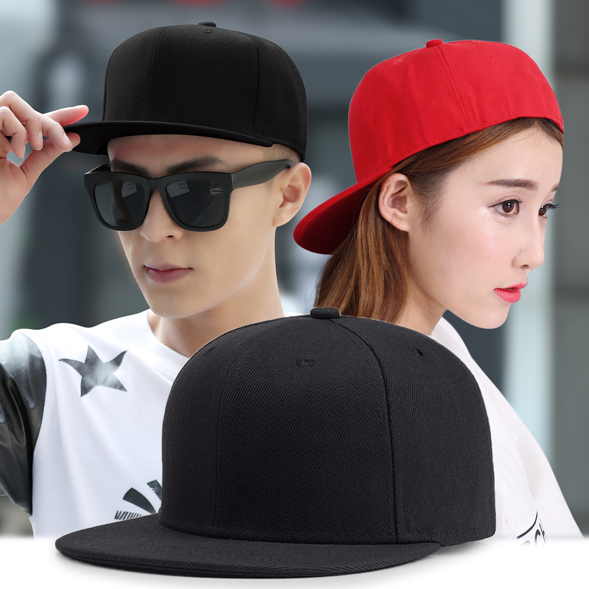 Baseball-Caps Snapback Cap-Size Hip-Hop-Hat Flat-Peak Plain Big-Bone Women Man 8 Adult