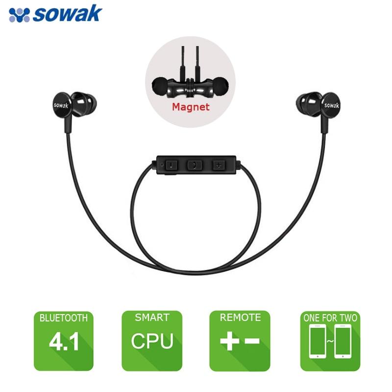 SOWAK S2 Magnet Wireless Headset Bluetooth Earphones Fone de ouvido For Phone Kulaklk Ecouteur Auriculares Sport Bluetooth V4.1