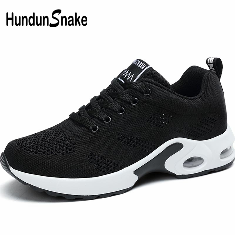 Hundunsnake Breathable Lady Sports Shoes Sport Women's Sneakers For Fitness Shoes Women's Running Shoes Walk Summer Black A-063