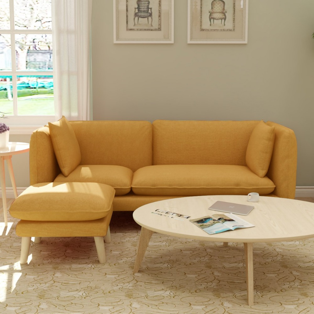 Three Seat Sofa Modern Design Sofa For Living Room,sofas Modernos Para Sala Couch Linen Upholstery And Wooden Legs