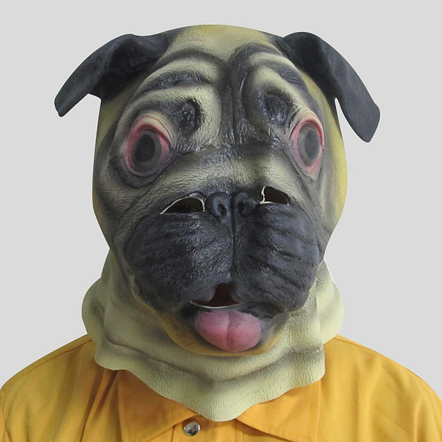 free shipping halloween party costume prop cosplay mask cute pug animal face head mask realistic ainimal
