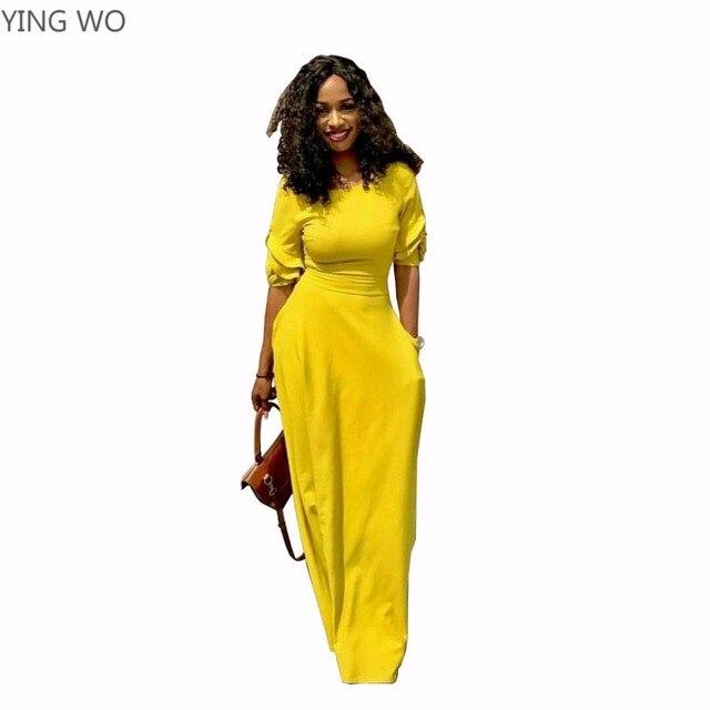 Yellowblackred Casual O Neck Half Sleeve Maxi Dress With Pockets