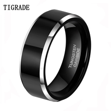 8mm Gothic Vintage Black Mens Tungsten Carbide Rings for Men Wedding Anniversary Jewelry Gifts