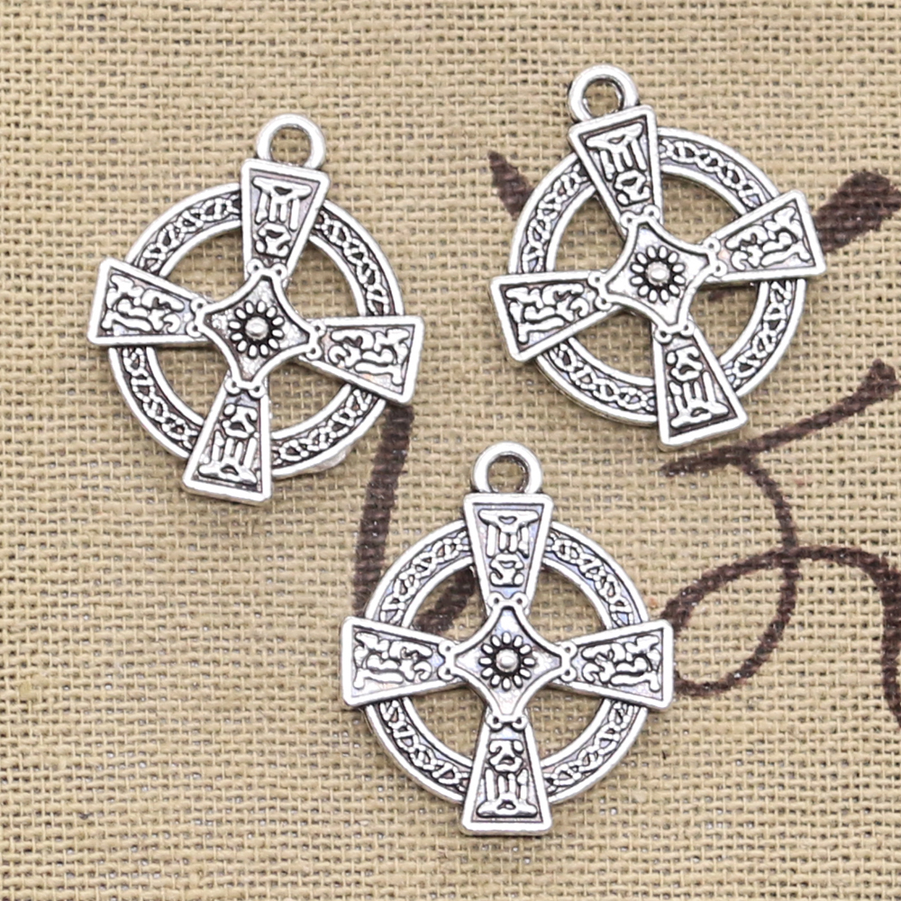 12pcs Charms Double Sided Circle Cross 23x20mm Antique Silver Color Pendants Making DIY Handmade Tibetan Silver Color Jewelry