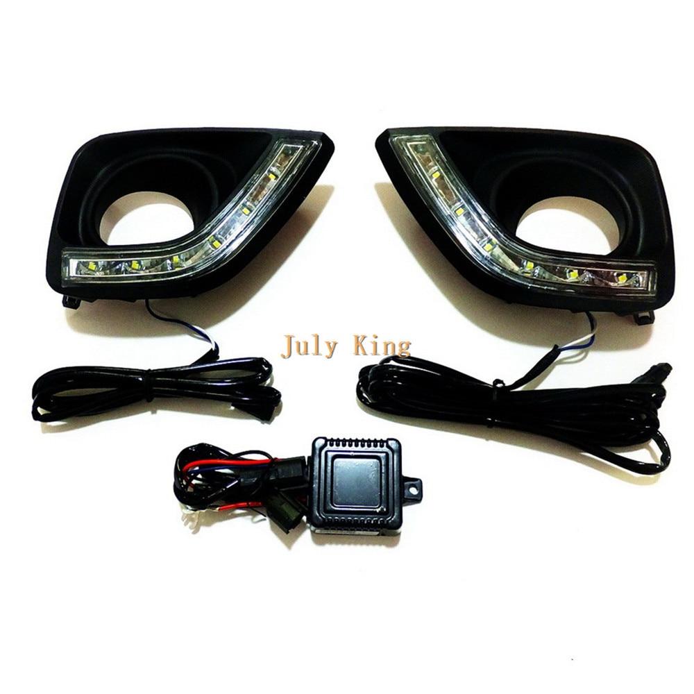 Йейтса светодиодные дневные ходовые огни DRL с черным Противотуманные фары Крышка лампы, светодиодные Противотуманные фары Чехол для Toyota Марк x reiz Тойота 2011~13 1:1 замена