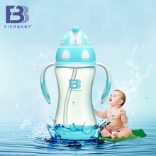Fierbaby 300ML the large capacity baby  cute dot water cup Baby/kids training drink water cup the feeding cup with the handle