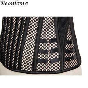 Image 5 - Beonlema Steel Bone Corsage Mesh Steampunk Corset Waist Slim Women Corselet Apricot Striped Korset Plus Size Overbust Busiter