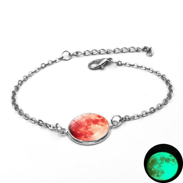 Glow In The Dark Charms Bracelet Glass Cabochon Gray Moon Luminous Jewelry Silver Chain Link Bracelets for Women Girl Gift 4