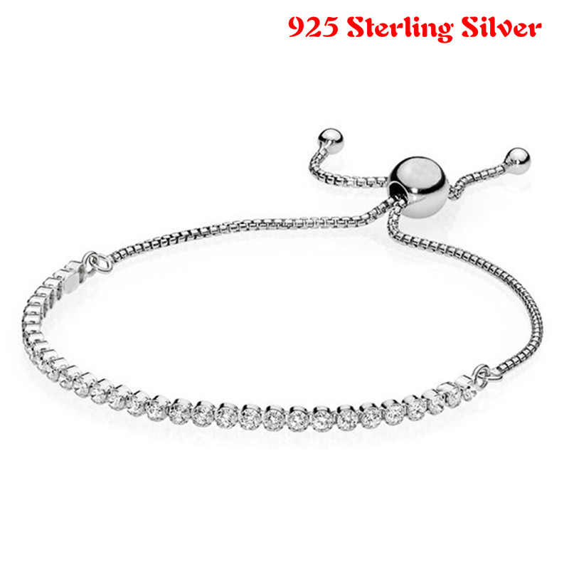 Authentic 925 Sterling Silver Pandora Bracelet Classic Tennis Sparkling Strand Adjust Bracelet Bangle Fit Women Charm Jewelry