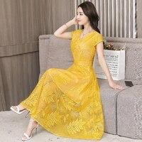 Elegant Vintage Long Dress Women Jurkjes Boho Tulle Lace Beach Dress Plus Size Summer Dresses Maxi Long Party Dress Female C4507