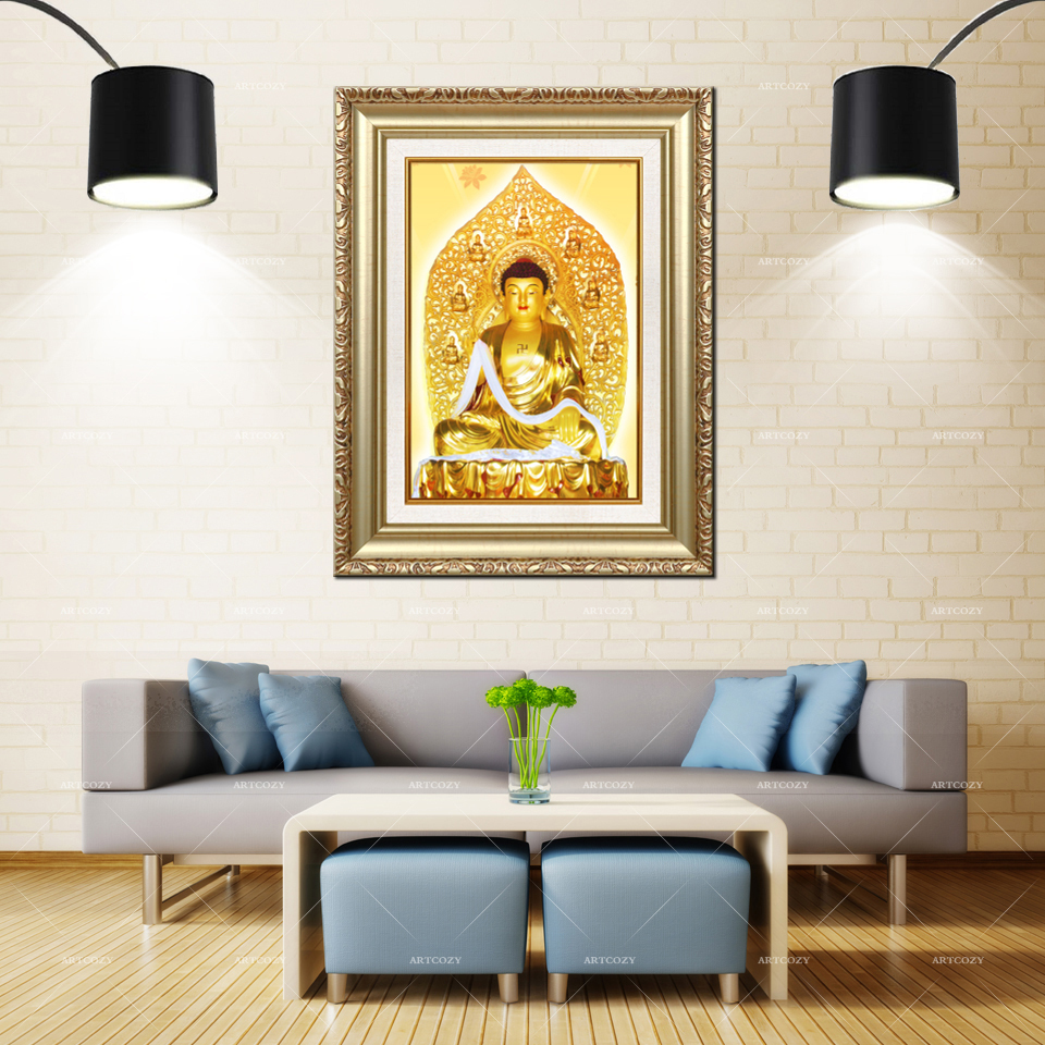 Artcozy Golden Frame Abstract Buddha Oil Waterproof Canvas Painting For Home DecorationArtcozy Golden Frame Abstract Buddha Oil Waterproof Canvas Painting For Home Decoration
