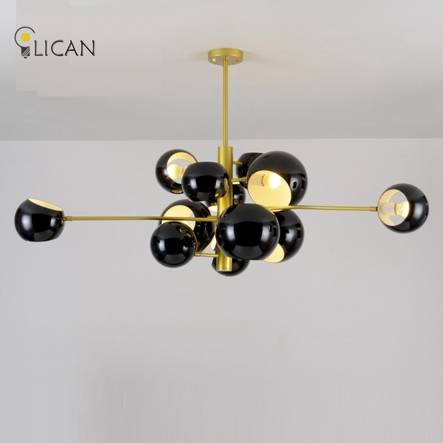 LICAN Loft Industrial Pendant Lights Black Gold Bar Stair Dining Room Glass Shade suspension luminaire Pendant Lamps for Living