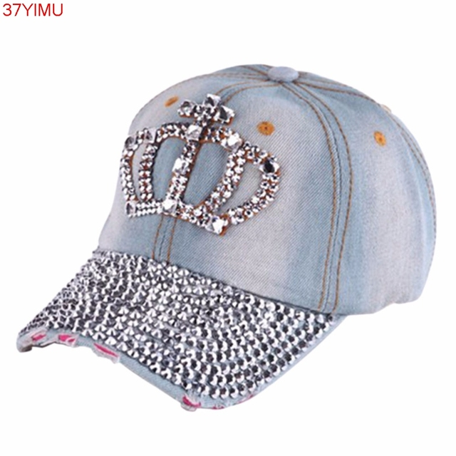 ef9af5b9e3c 1PC New Women Hip Hop Fashion Caps Casual Rhinestone Stud Bling Crown Baseball  Cap Hat Gifts