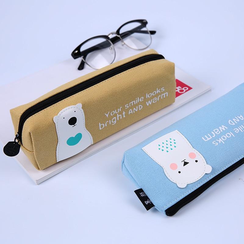 Korean Style Cute Kawaii Canvas Pencil Bags Case Brief and Adorable Pet Series Large Capacity Student Pen Bag School Supplies kawaii manga adorable