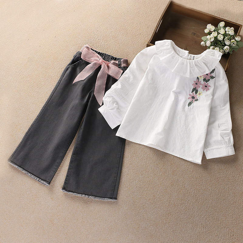 Korean Fashion Cotton Doll Collar Long Sleeve Shirt+denim Wide Leg Pants Girls Clothing Sets Kids Set for Girls Suit for 3-7 sokotoo men s colored painted snake 3d print jeans fashion black slim stretch denim pants
