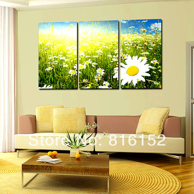 3 Panel Wall Art Field of Daisy Natural Flower Canvas Print Painting ...