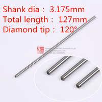1 pz 3.175mm shank 120 gradi. punta in acciaio cromato titanium granito incisione punta di diamante incisore trascinare bit taglierina di cnc router bit
