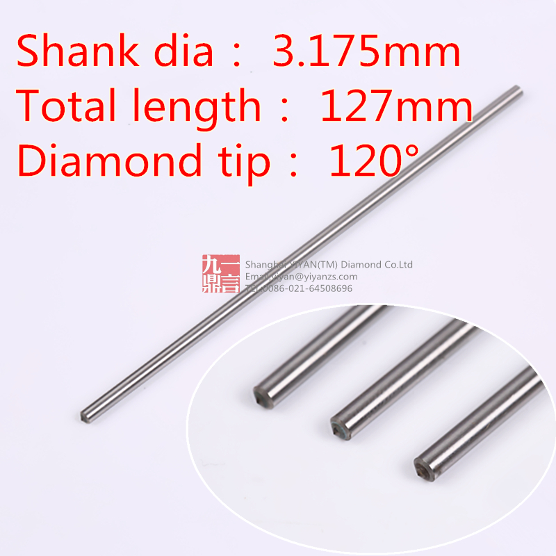 1pc 3.175mm Shank 120 Deg. Tip Steel Chrome Titanium Granite Engraving Point Diamond Engraver Drag Bit Cutter Cnc Router Bit