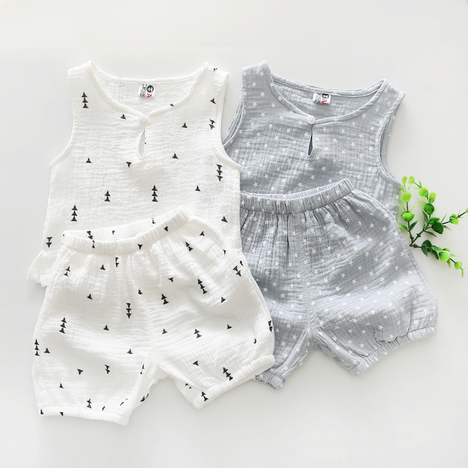 цена Baby Boys Clothes 2018 Summer Style Beach Star Tree Print Casual Sport Suit 2Pcs Sets T Shirt + Shorts Baby Girls Clothes Set