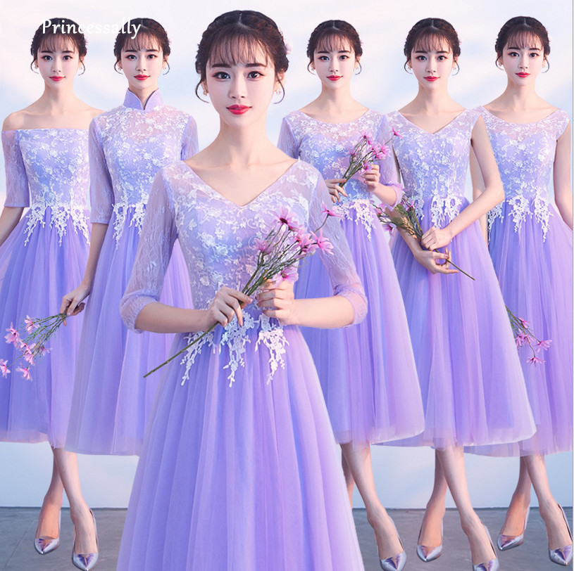2018 New Purple Bridesmaid Dresses Robes Honor Under 50 Tea Length With Sleeves White Lace Graduation Prom Party Gown Vestidos