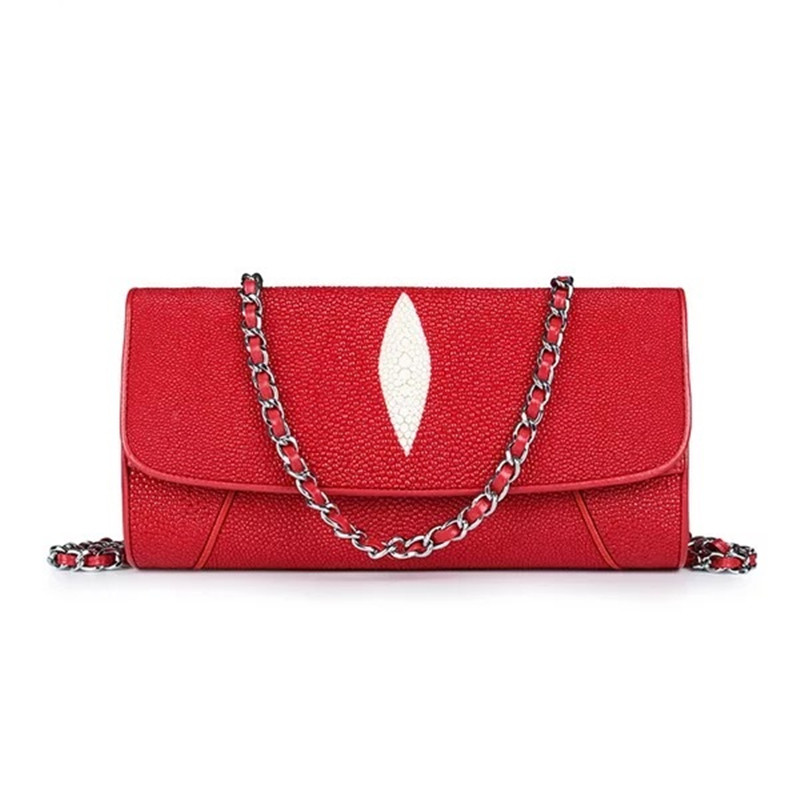 Thailand Exotic Stingray Leather Women s Red Clutch Purse Genuine Skate Skin Lady Single Cross Shoulder