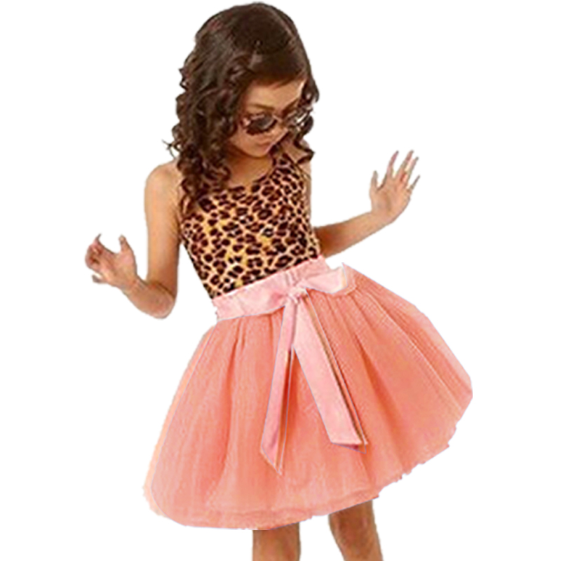 New Fashion casual girls dresses summer 2017 kids baby girls clothes sleeveless leopard girl dress princess bow christmas party summer 2017 new girl dress baby princess dresses flower girls dresses for party and wedding kids children clothing 4 6 8 10 year