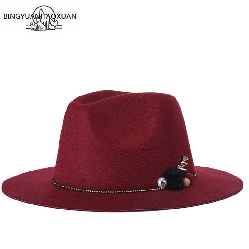 BINGYUANHAOXUAN Fashion Woolen Unisex Womens wide-brim Fedora Hat For Laday Men Wool Panama Cap With Feathe Headband Jazz Hat