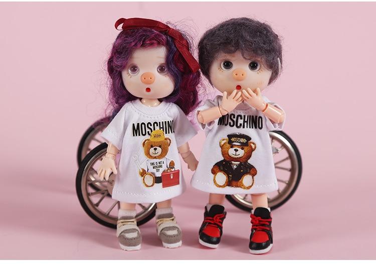 New [1/12 Doll Long Cartoon T-shirt] OB11 Printed T-shirt 1/12 Doll  Obitsu11 Clothes (Fit Ob11,obitsu11,BJD12,cu-poche)