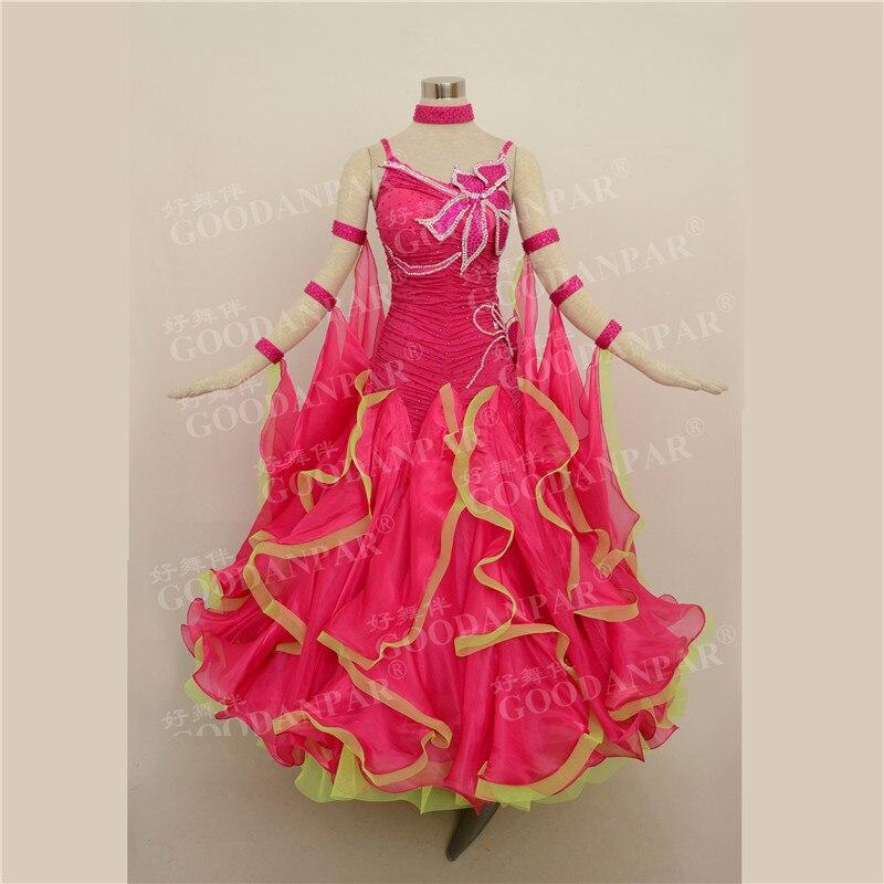 GOODANPAR Women Girls Sleeveless Lycra Ribbon Ballroom Dance Dress With Bra Leotard Standard Competition Costume Waltz Clothes