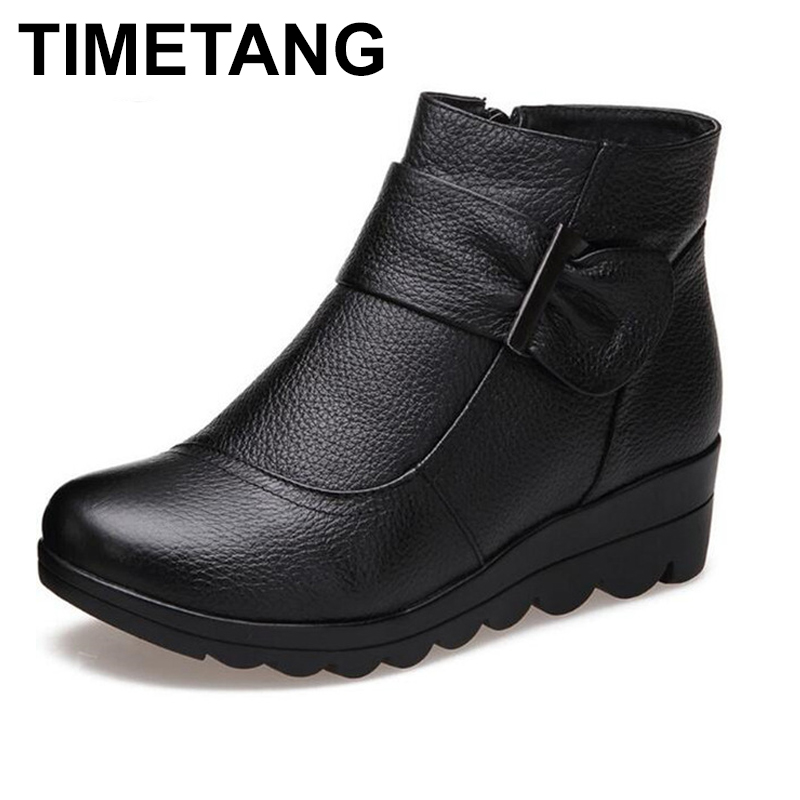 TIMETANG   Brand Boots Women Shoes Winter Ankle Boots 2018 Warm Comfortable Wedges Mom Snow Boots Cow Leather Shoes Woman Boots
