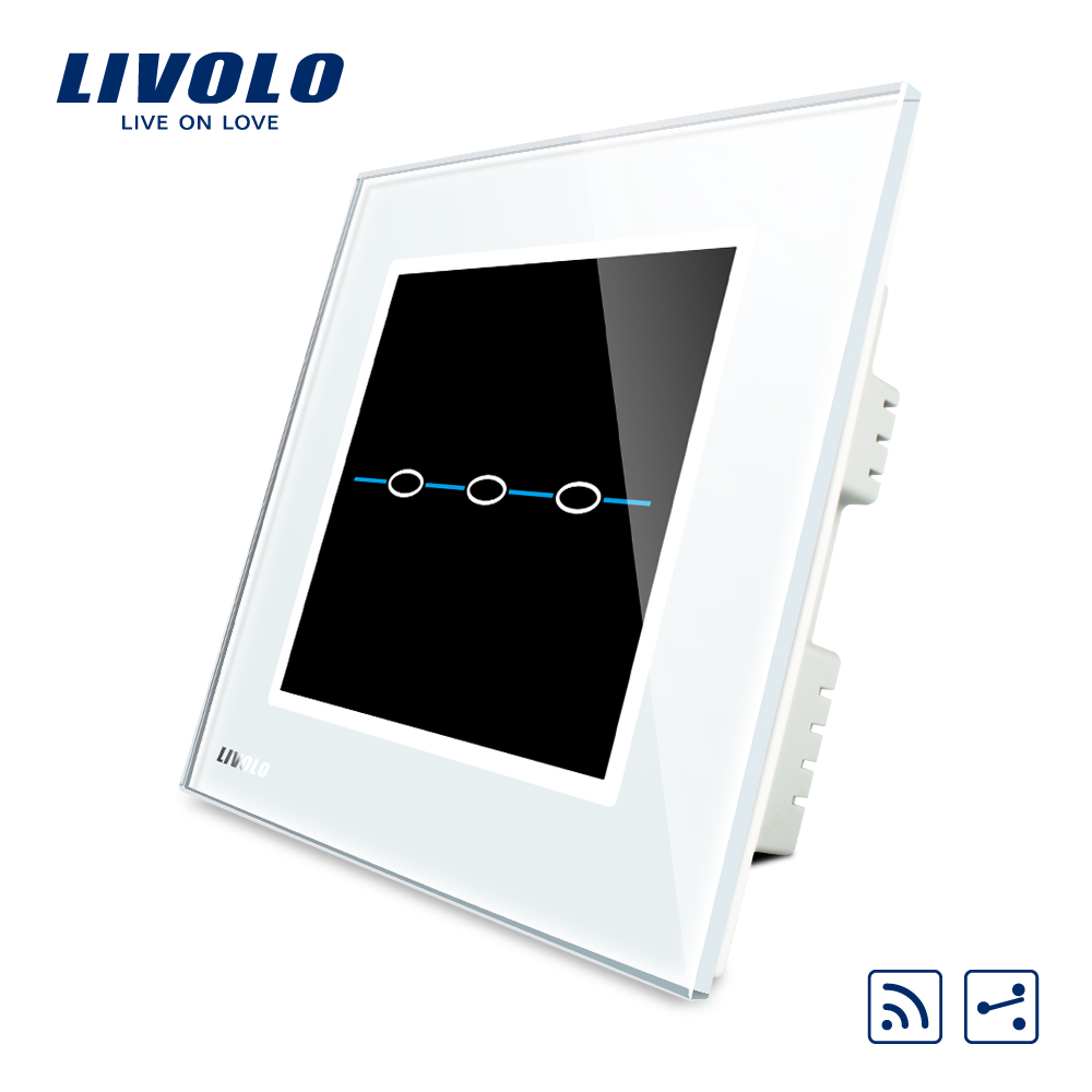 Livolo UK standard  2 Ways Remote Touch Wall Light Switch,AC 220~250V, White Crystal Glass Panel,VL-C303SR-31 smart home uk standard crystal glass panel wireless remote control 1 gang 1 way wall touch switch screen light switch ac 220v