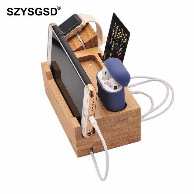 SZYSGSD 2 in 1 Holz Ladestation Für iPhone 6 6 S 8 Handy Stehen Schreibtisch Für Apple Uhr lade Bluetooth Earpods Halter