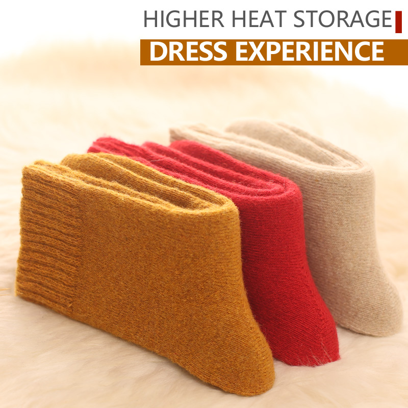 Image 3 - 4pair Merino brand wool thick warm socks women Japanese style winter cashmere women socks tube slippers Simple style crew-in Stockings from Underwear & Sleepwears on AliExpress