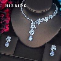 HIBRIDE Moda Dubai Düğün Takı Setleri Kadınlar Gelin Için Beyaz Altın Renk Çiçek Küpe Kolye Seti Promosyon Fiyat N-322