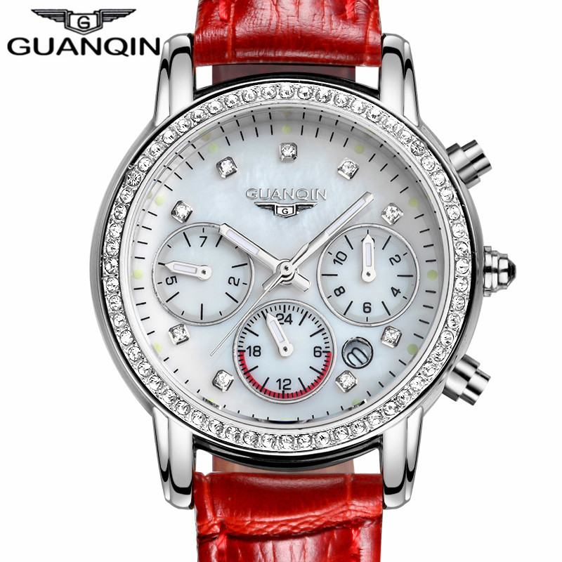 ФОТО relogio feminino 2017 GUANQIN Watches Women Luxury Brand Luminous Date Clock Ladies Fashion Casual Leather Strap Quartz Watch