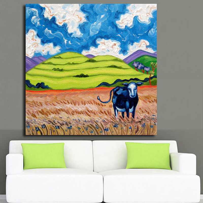 2017 Free shipping Large size Printing Oil Painting Cow in the field Wall Art Picture For Living Room painting no frame