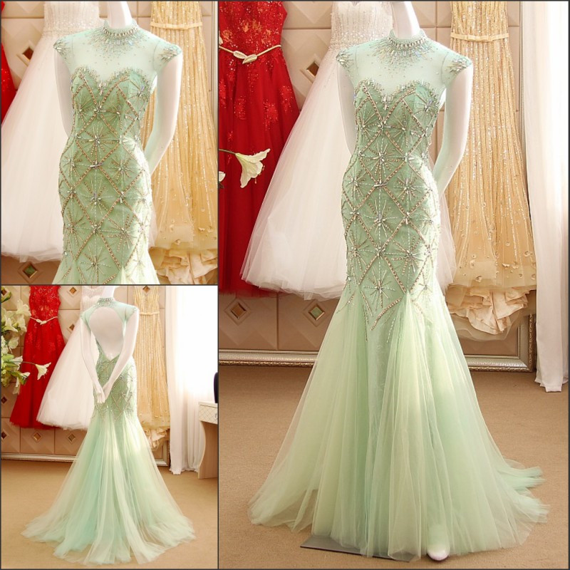 2016 New Sexy Mermaid   Evening     Dress   High Neck Sleeveless Backless Heavy Crystals Formal   Dresses   Robe De Soiree IZ519