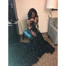 Mermaid Prom Dresses 2019 Long Sleeve Sweep Evening Dress