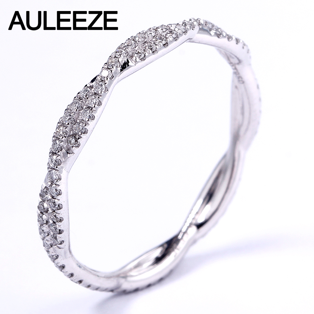 AULEEZE Pave VS Natural Real Diamond Ring Platinum 950 Wedding Twist Band For Women Lady Elegant