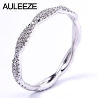 AULEEZE Pave VS Natural Real Diamond Ring Platinum 950 Wedding Twist Band For Women Lady Elegant