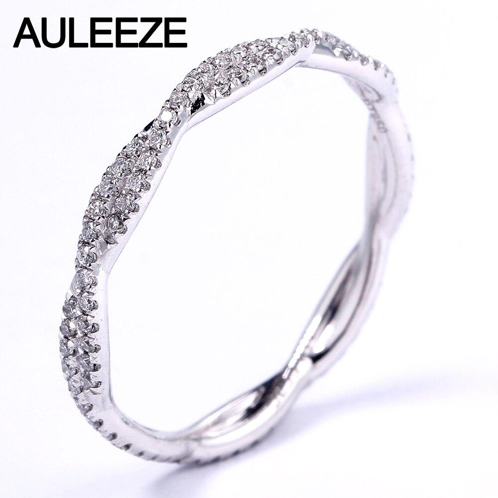 Auleèze Pave VS naturel réel diamant bague platine 950 mariage torsion bande pour femmes dame élégante bague de fiançailles bijoux fins