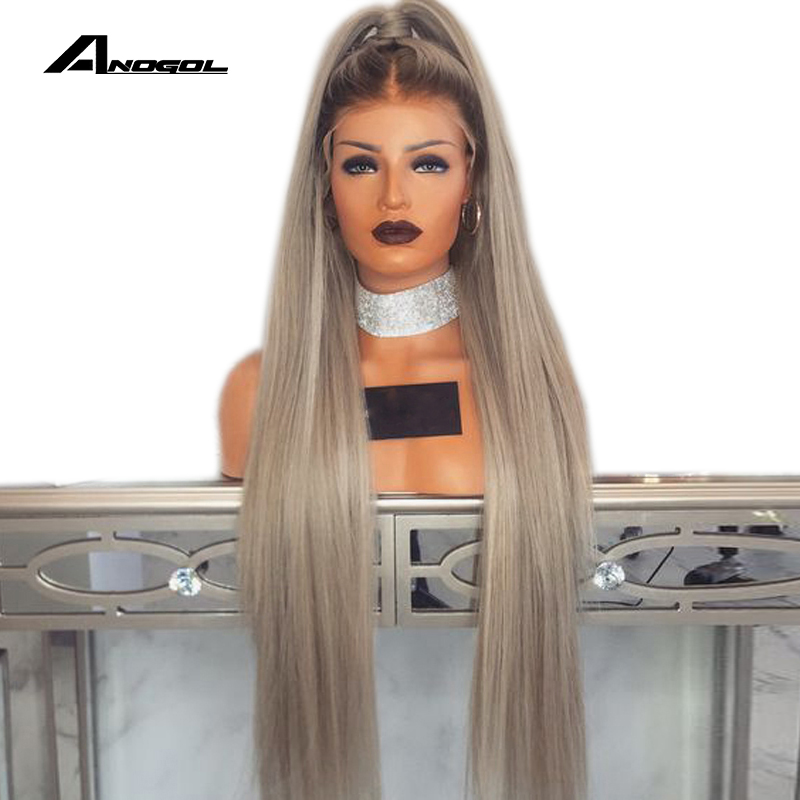 Anogol Wig Baby-Hair Ash-Blonde Lace-Front Adult 180-Density Synthetic Straight Long title=