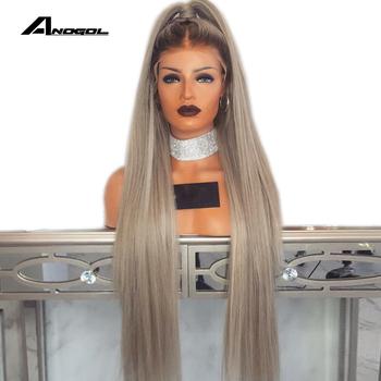 Anogol popiołu blond 180 gęstość 26 cali długie proste syntetyczna koronka peruka front z do włosów dla dzieci dla dorosłych kobiet środkowej części tanie i dobre opinie Wysokiej Temperatury Włókna 1 sztuka tylko Jasny brąz 180 Średnia wielkość Swiss koronki G1901636 G1707440 G1901633 G1901634