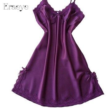 ERAEYE Women Sexy Lingerie Lace Sleepwear Plus Size Housecoat Silk Nightgown Erotic Dress Sling Skirt Nightdress