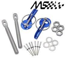 Universal Original Logo Car Racing Engine Bonnet Silver Hood Pin Flip Over Security Lock Kit Set