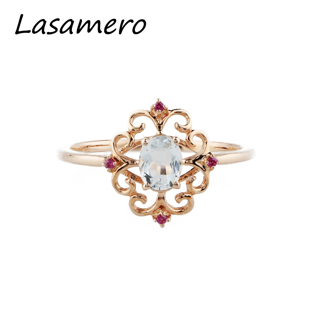 LASAMERO Rings for Women 0.35ct Round Cut Natural Aquamarine Rings 925 Silver Engagement Wedding Rings