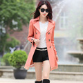 2016 Women Elegant Trench Coat Spring Slim Double Breasted Overcoat Spring Turn-Down Collar Lace Up Long Coat Outerwear feminino