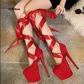 Zapatos 2016 Sexy bling CDTS alto-salto alto sapatos de plataforma única das mulheres 19/20 cm saltos finos Tornozelo feminino-strap Lace-up bombas de casamento