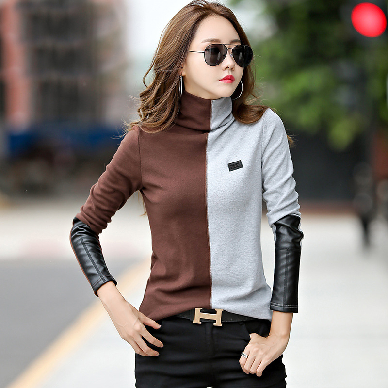 New 2019 Female T-shirt Turtleneck Contrast Color Long Sleeve T Shirt Women Autumn Winter T-Shirts For Women Patchwork Tshirt