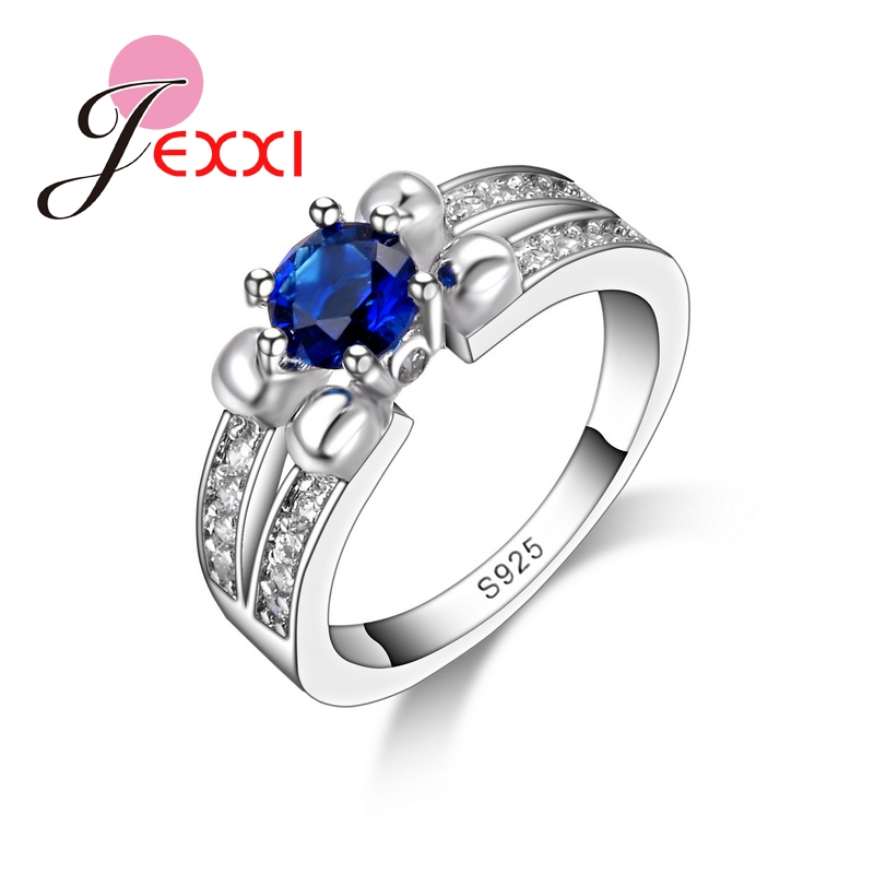 Trendy Luxury Crystal Ring Wedding Annersary Jewelry Top Quality 925 Sterling Silver Rings Women Accessories